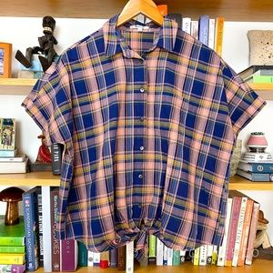 Madewell   Pink Plaid Oversized Front Tie Tee SM